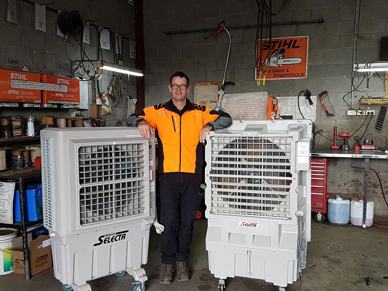 Dean Addison and two Silvan A/C units